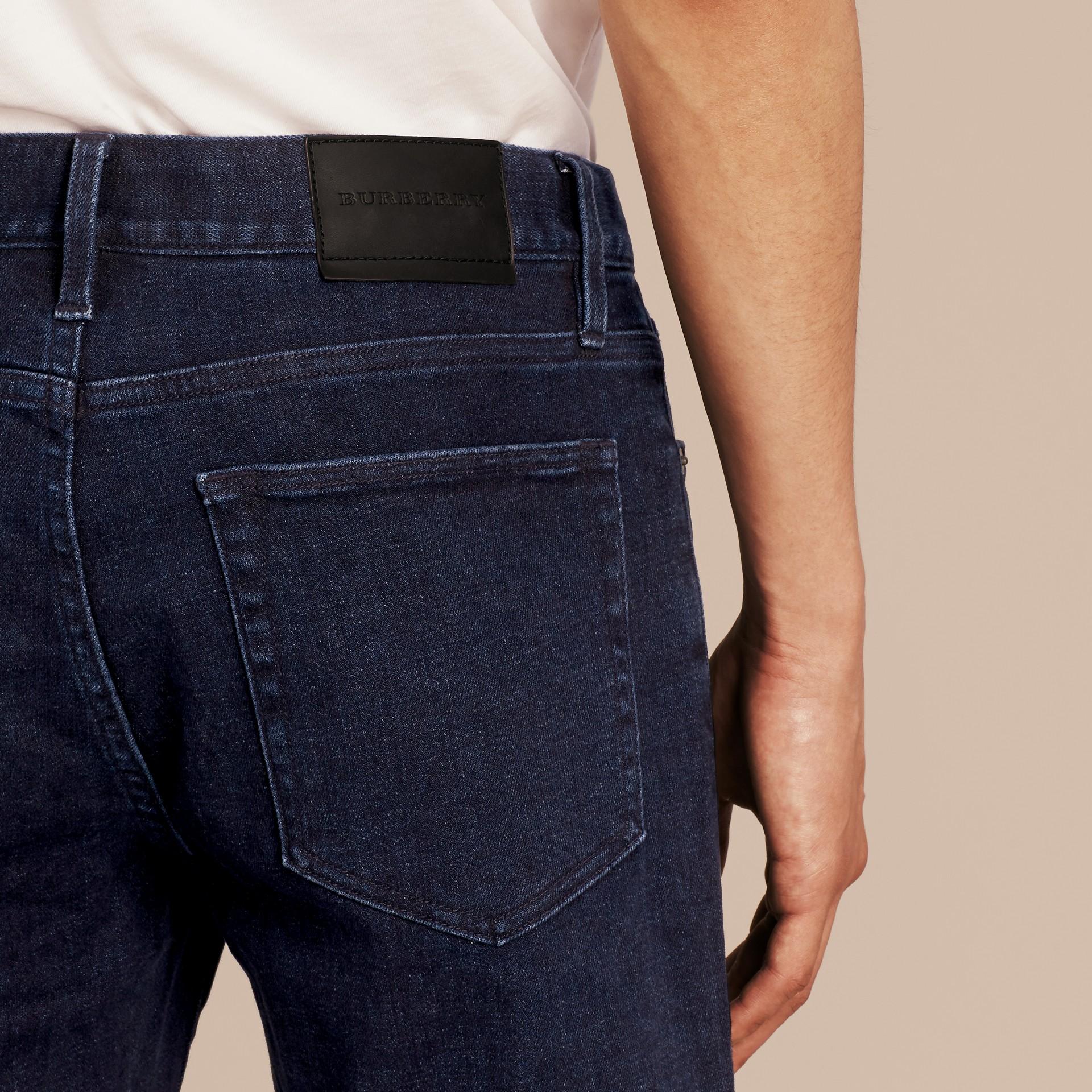 Dark indigo Straight Fit Indigo Stretch Denim Jeans - gallery image 5