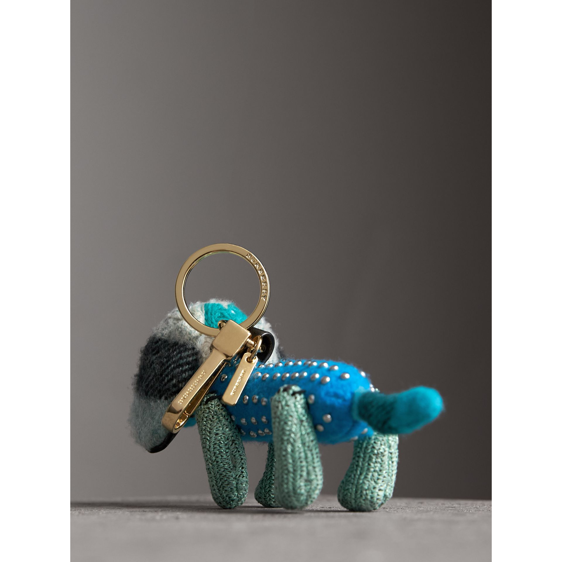 Tilly The Sausage Dog Cashmere Charm in Teal Blue | Burberry - gallery image 3