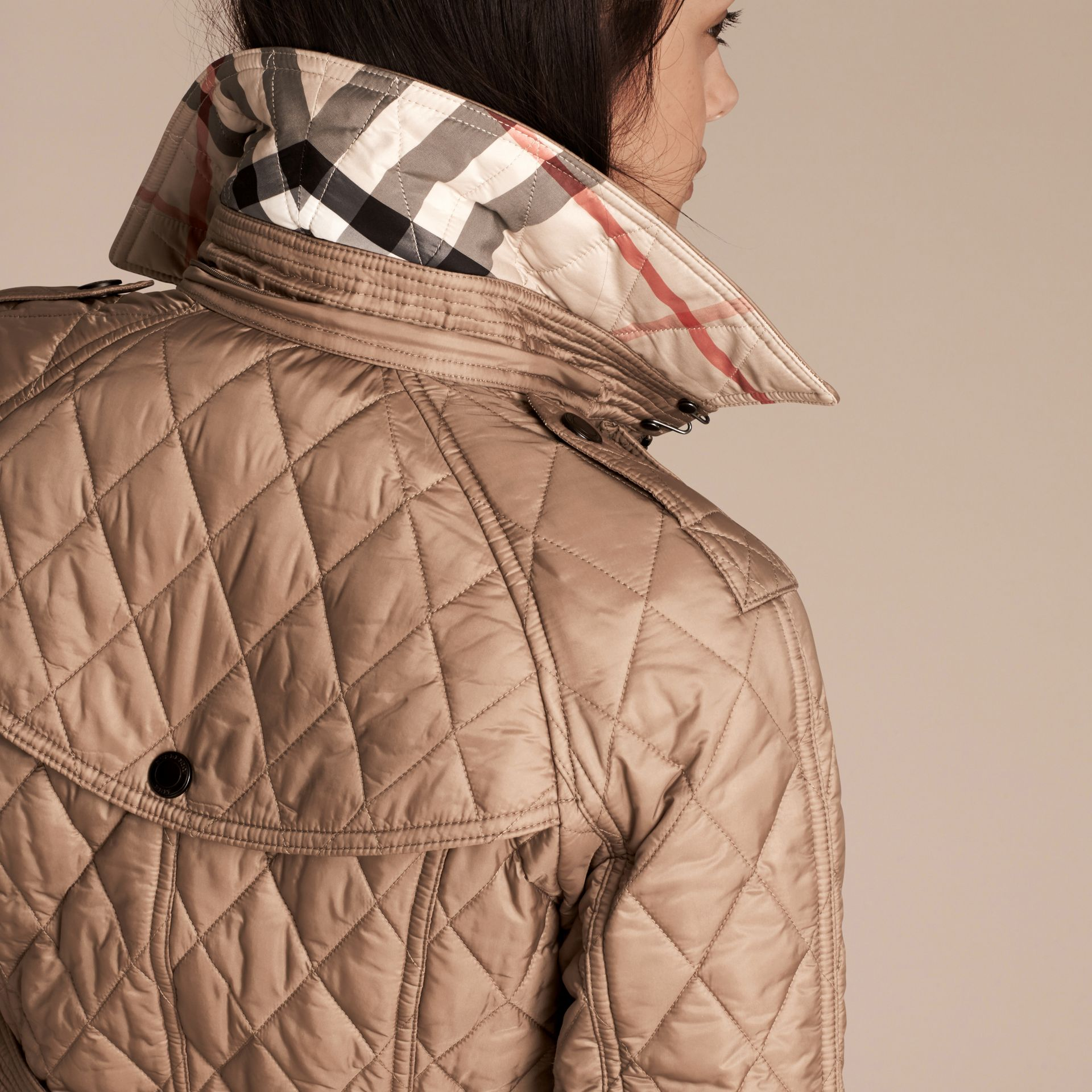 Quilted Trench Jacket with Detachable Hood Pale Fawn - gallery image 6