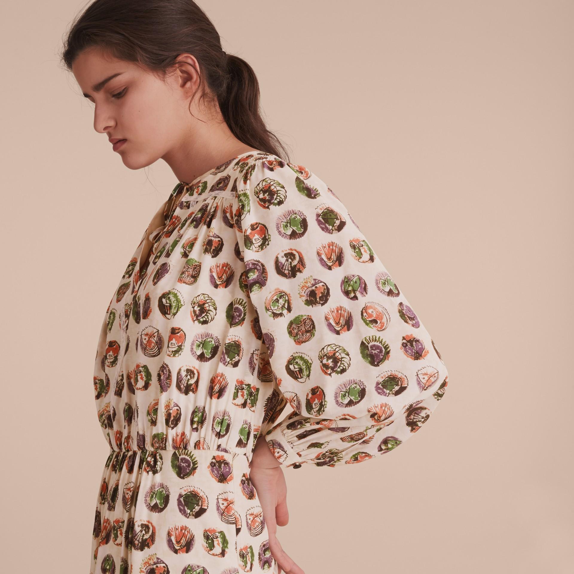 Pallas Heads Print Silk Dress with Neck Tie - gallery image 5