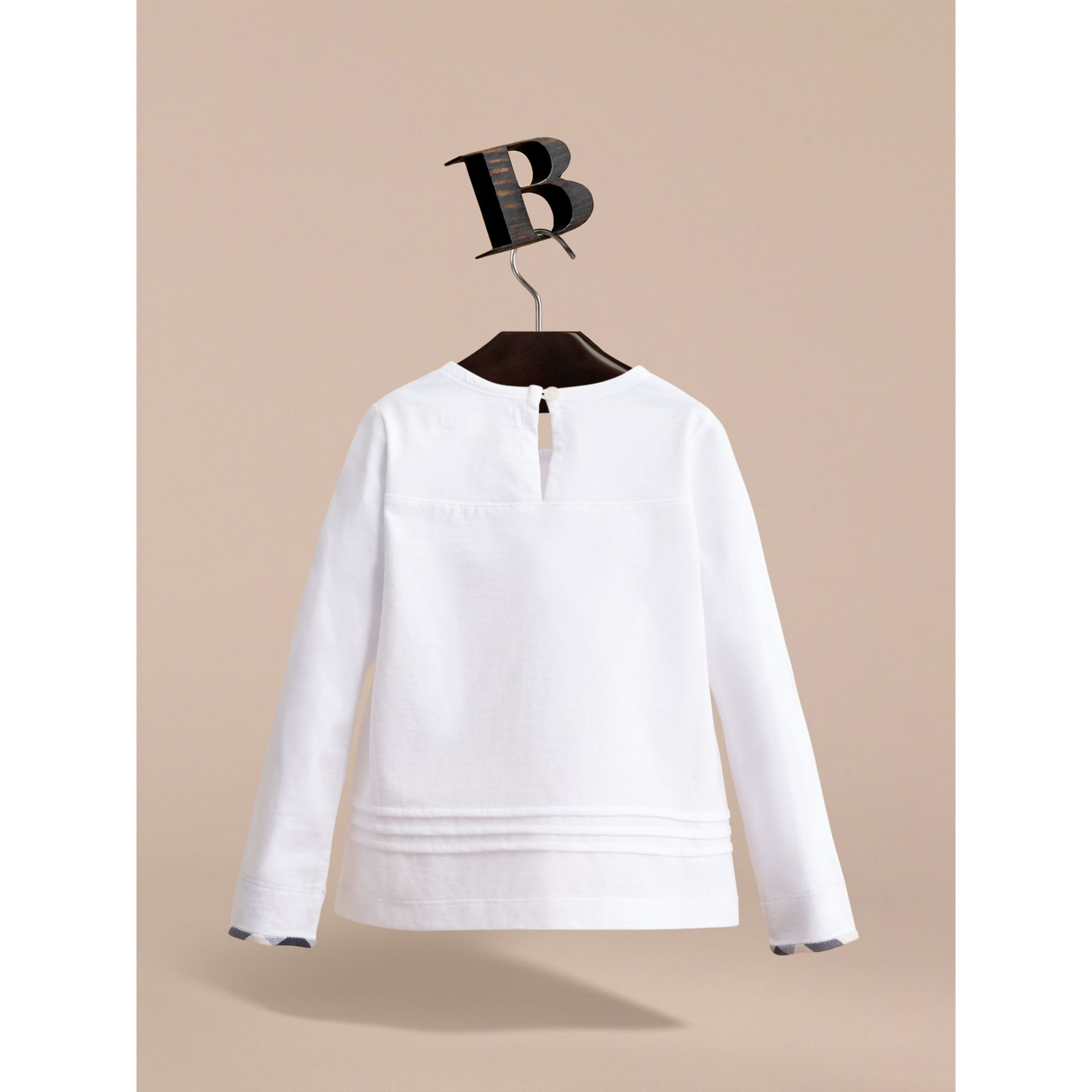 Long-sleeve Pleat and Check Detail Cotton T-shirt in White - Girl | Burberry - gallery image 3