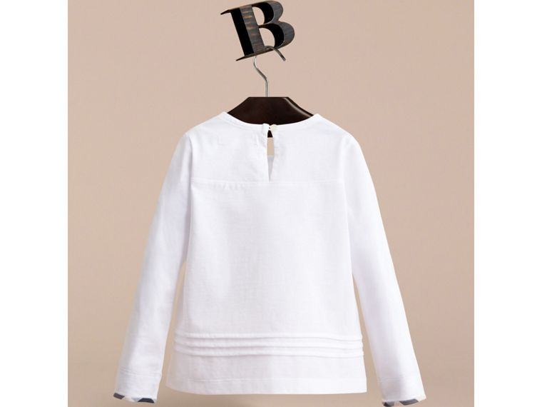 Long-sleeve Pleat and Check Detail Cotton T-shirt in White - Girl | Burberry Canada - cell image 2