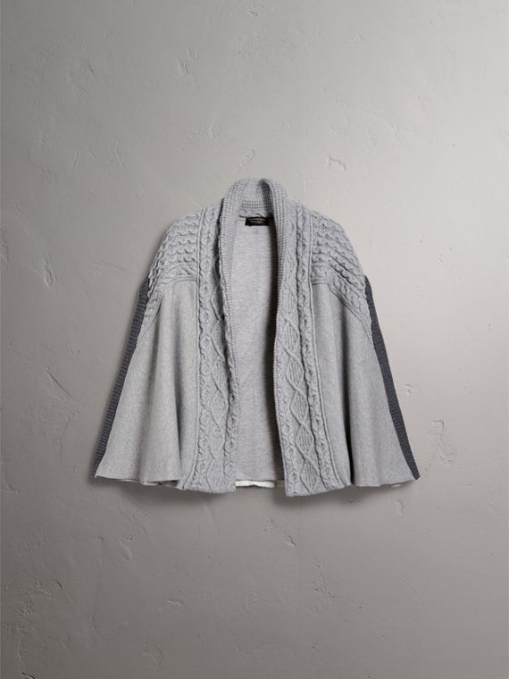 Cable Knit Cotton Blend Panelled Poncho in Grey Melange - Women | Burberry - cell image 3