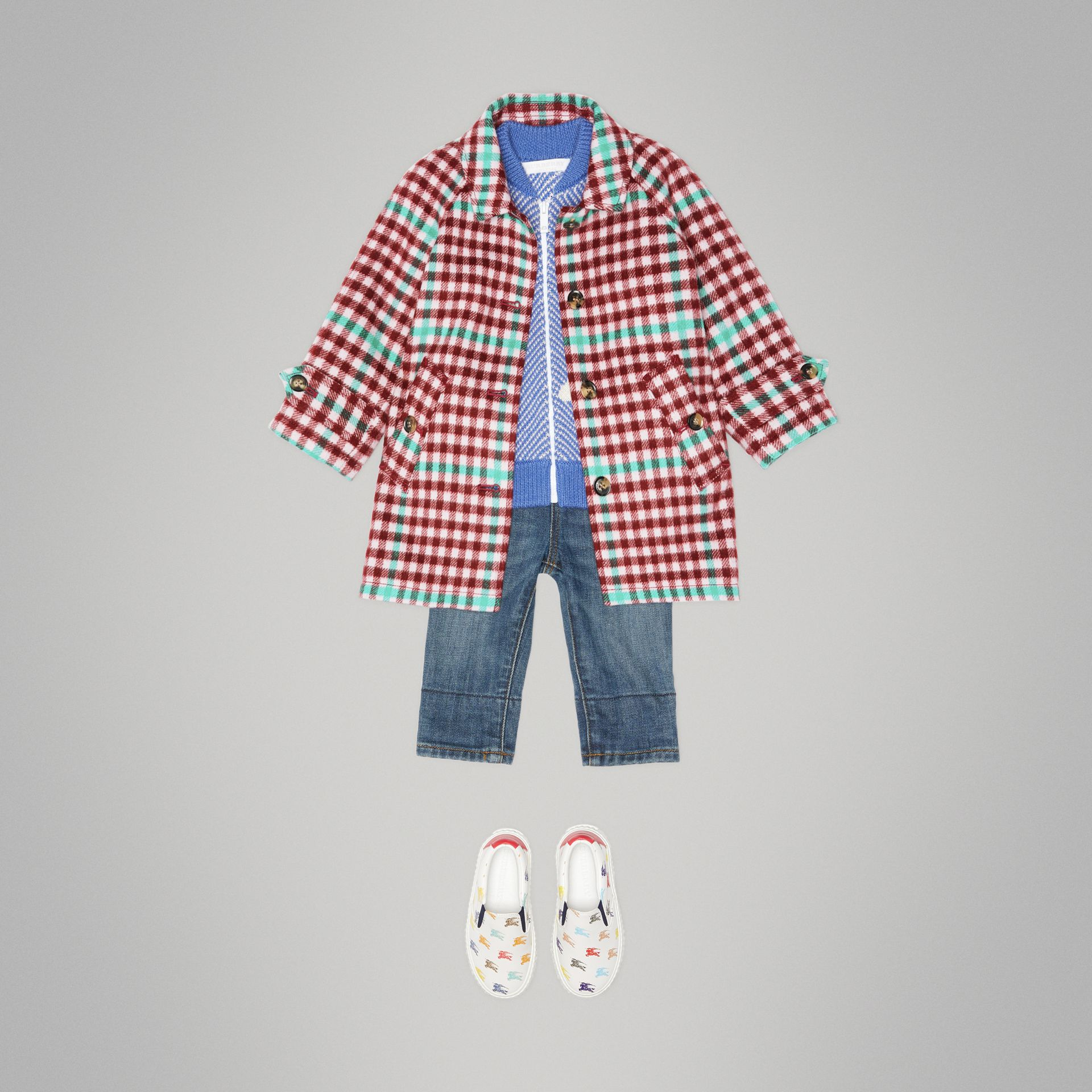 Check Wool Car Coat in Garnet Pink - Children | Burberry United States - gallery image 2