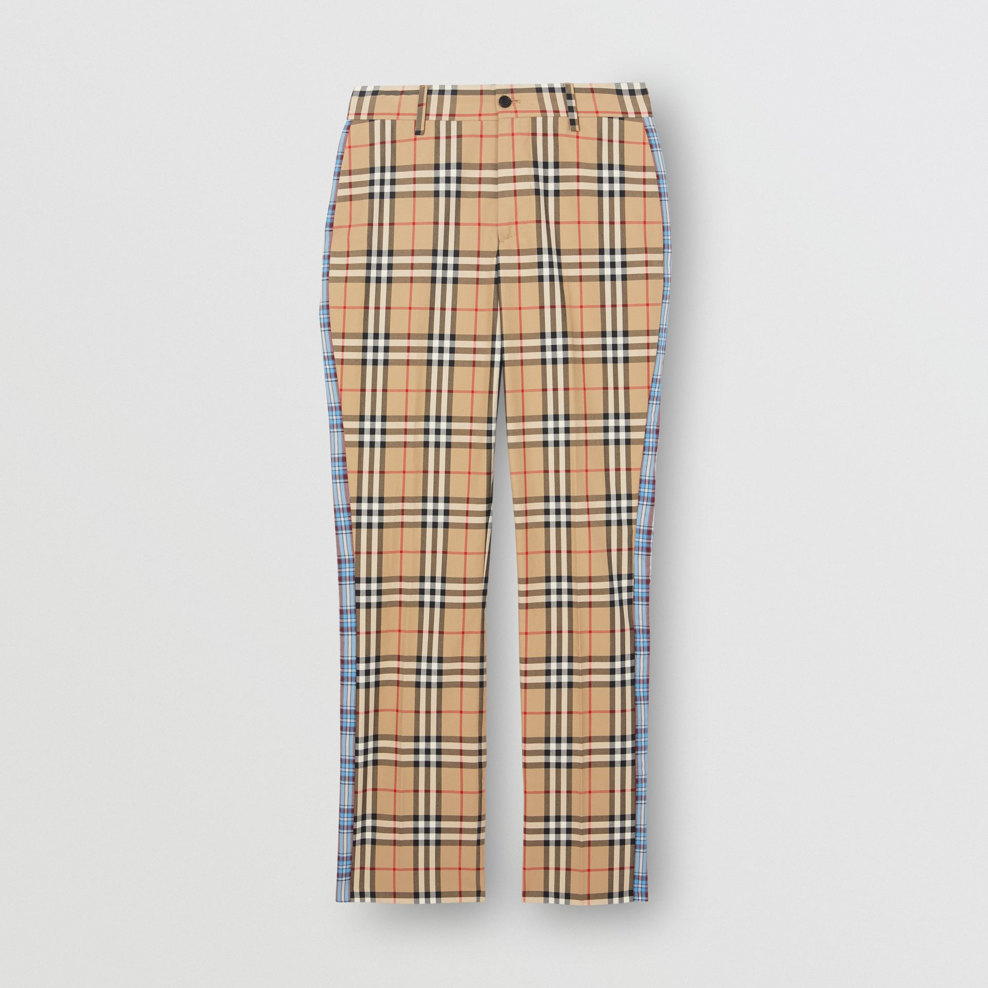 Straight Fit Contrast Check Cotton Trousers in Archive Beige - Women | Burberry Australia - gallery image 3
