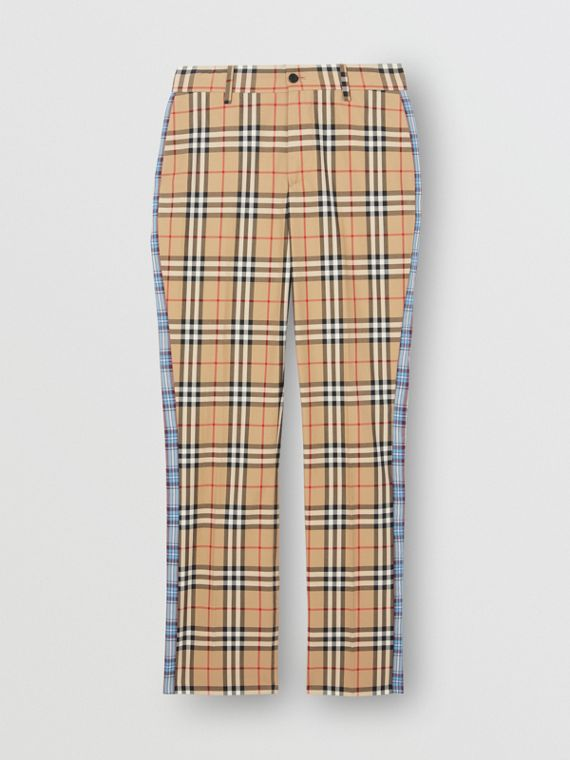 Straight Fit Contrast Check Cotton Trousers in Archive Beige