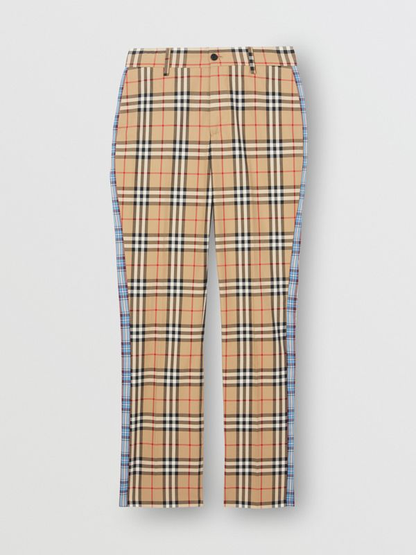 Straight Fit Contrast Check Cotton Trousers in Archive Beige - Women | Burberry United Kingdom - cell image 3
