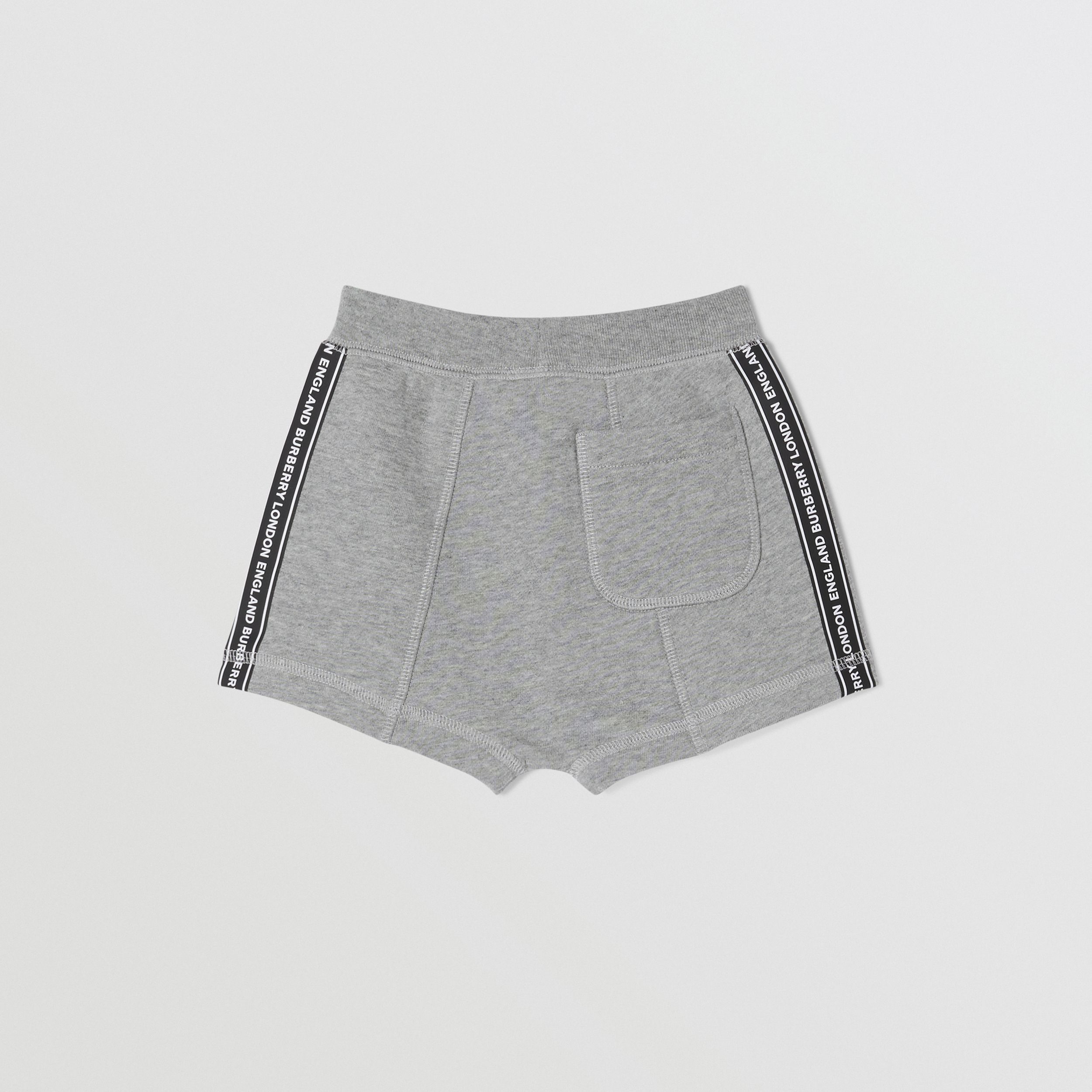 Logo Tape Cotton Drawcord Shorts in Grey Melange - Children | Burberry Australia - 4