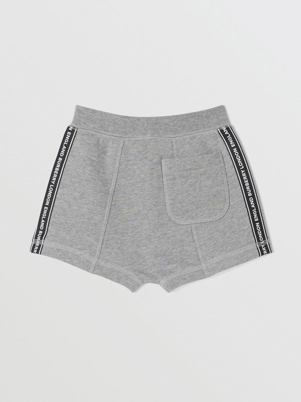 Logo Tape Cotton Drawcord Shorts in Grey Melange - Children | Burberry - cell image 3