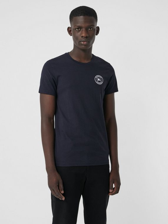Embroidered Logo Cotton T-shirt in Navy