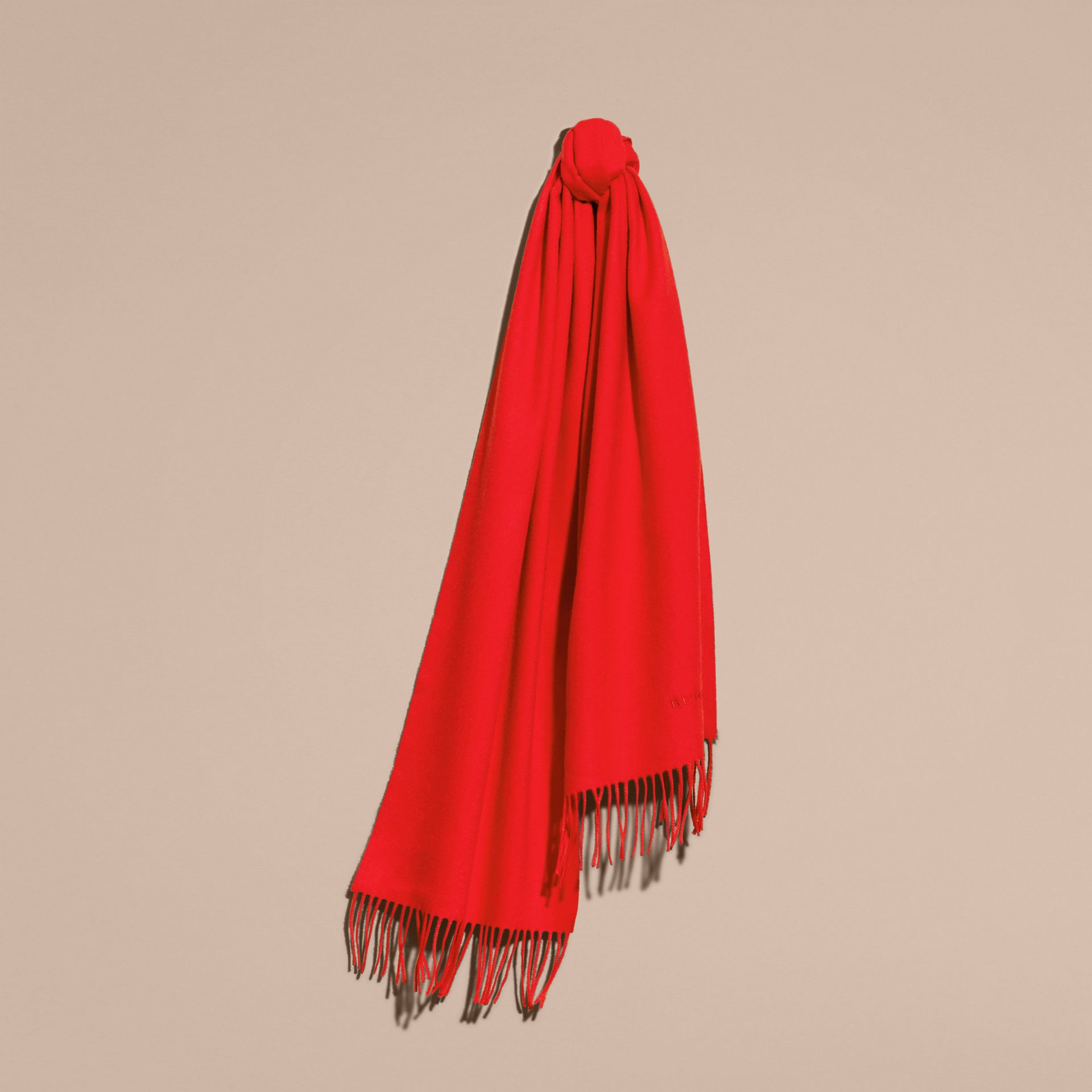 The Classic Cashmere Scarf in Bright Orange Red - gallery image 6