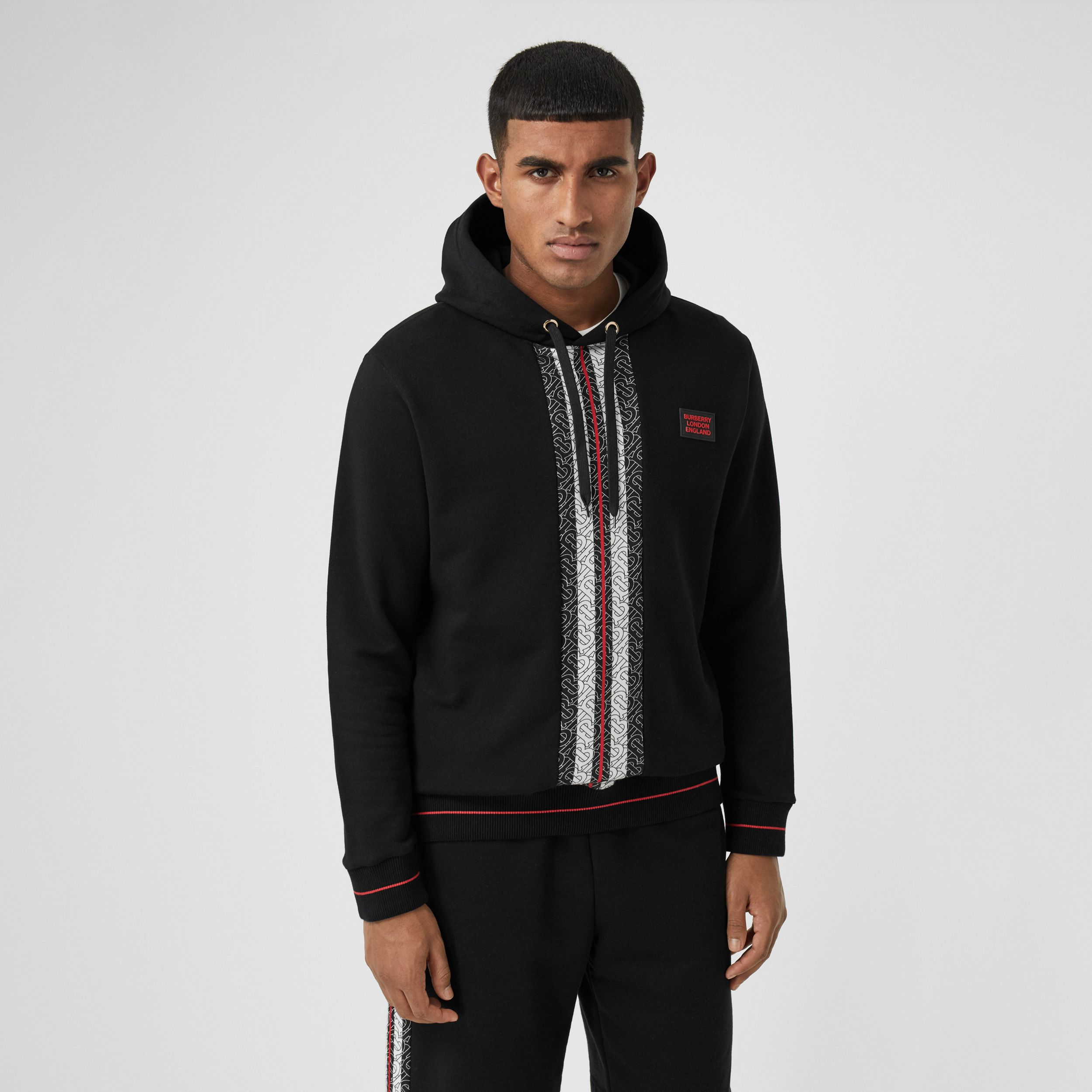 Monogram Stripe Panel Cotton Hoodie in Black - Men | Burberry - 1