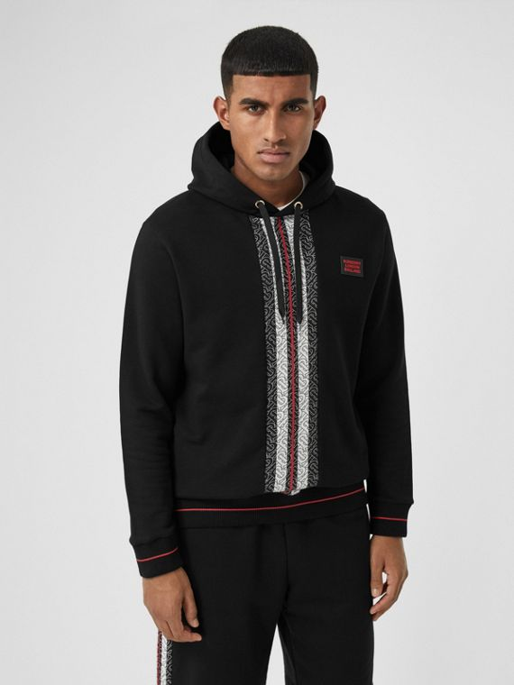Monogram Stripe Panel Cotton Hoodie in Black
