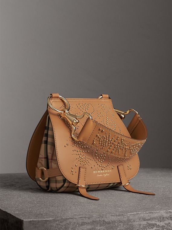 The Bridle Bag in Fruit and Flowers Riveted Leather in Pale Clementine - Women | Burberry Australia