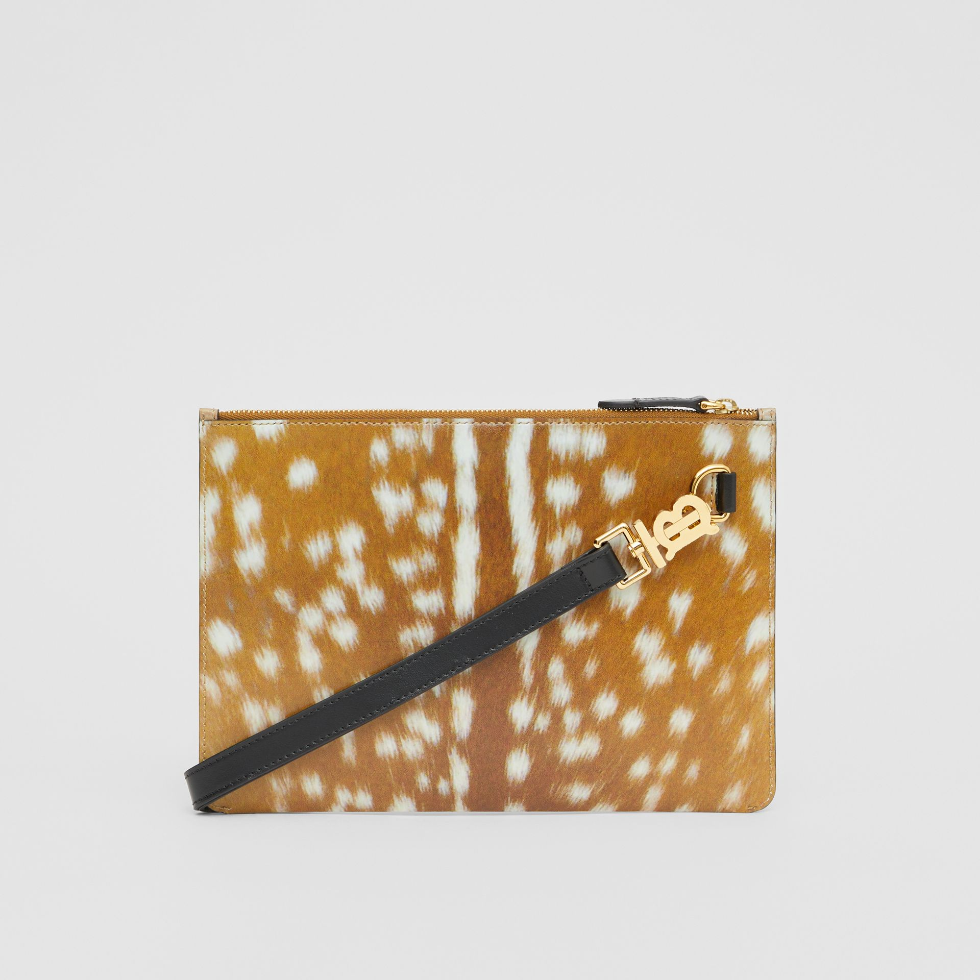 Deer Print Leather Zip Pouch in Malt Brown | Burberry Singapore - gallery image 7