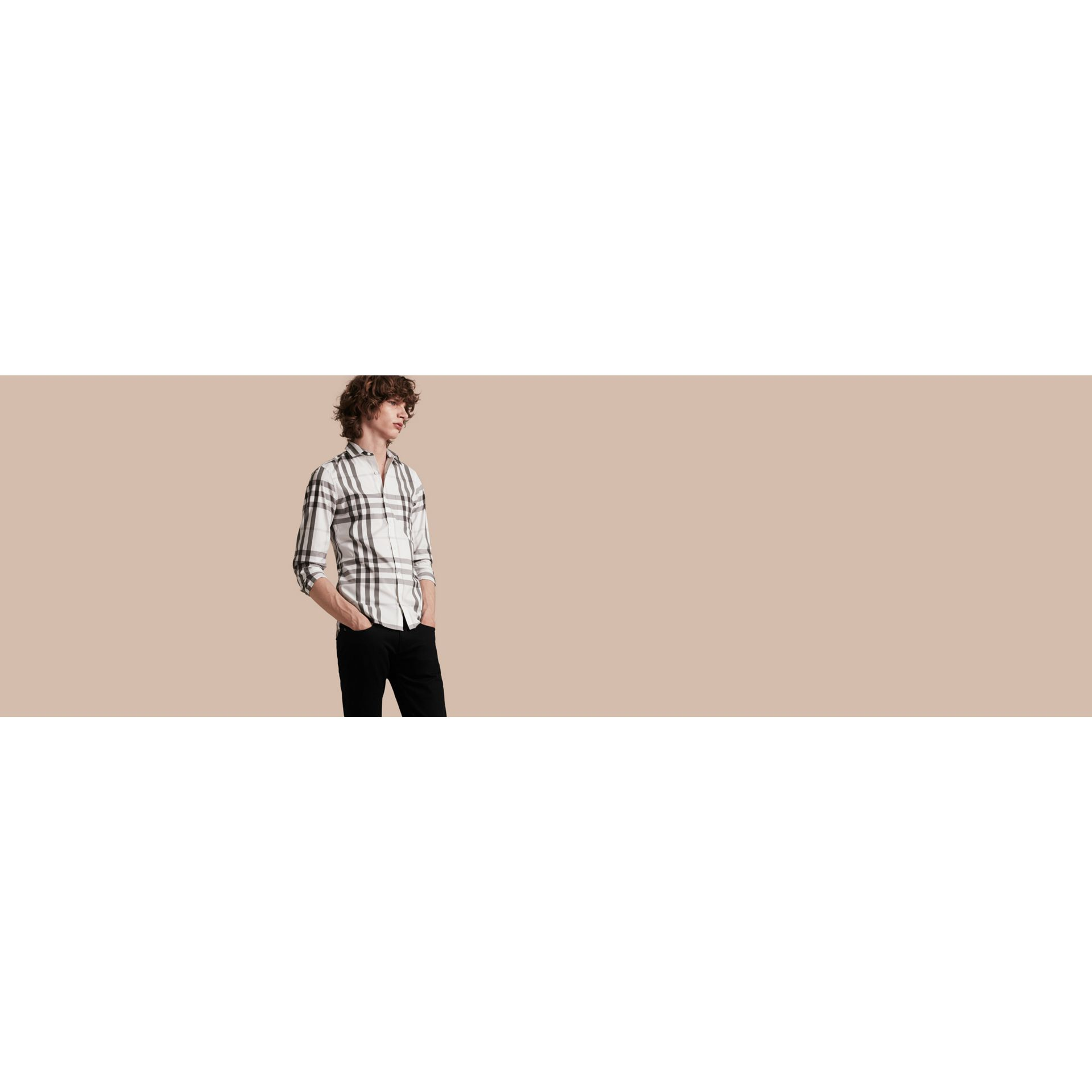 Bianco naturale Camicia in cotone stretch con motivo check Bianco Naturale - immagine della galleria 5