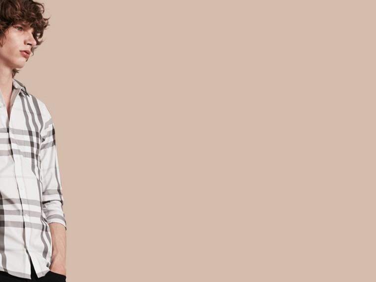 Bianco naturale Camicia in cotone stretch con motivo check Bianco Naturale - cell image 4