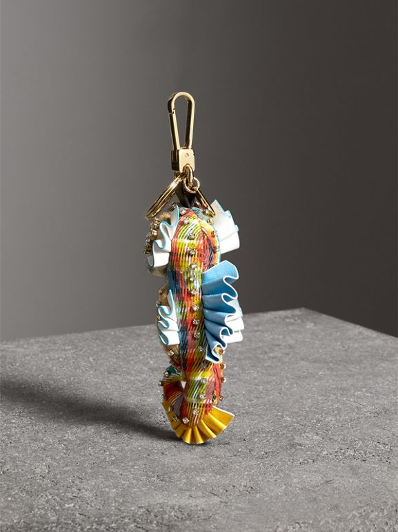 Matilda the Seahorse Check Cashmere Charm in Antique Yellow Multicolour | Burberry - cell image 1