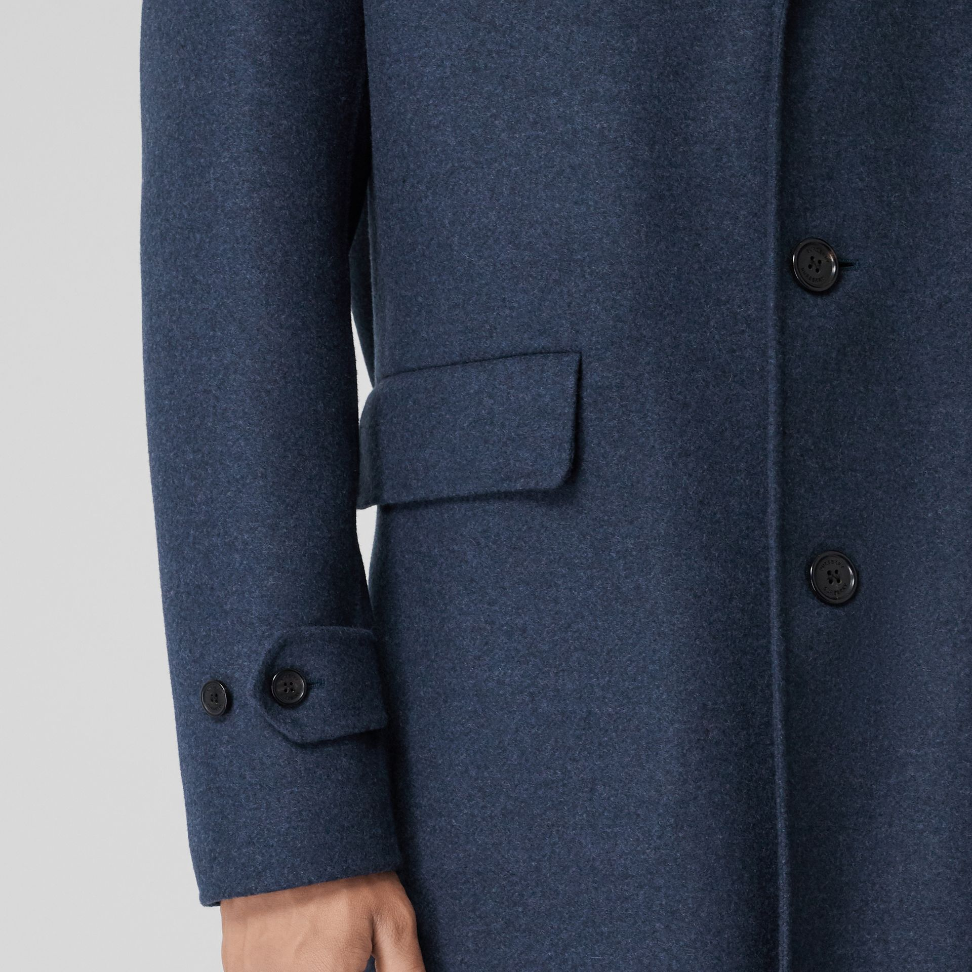 Wool Cashmere Lab Coat in Steel Blue Melange - Men | Burberry - gallery image 4
