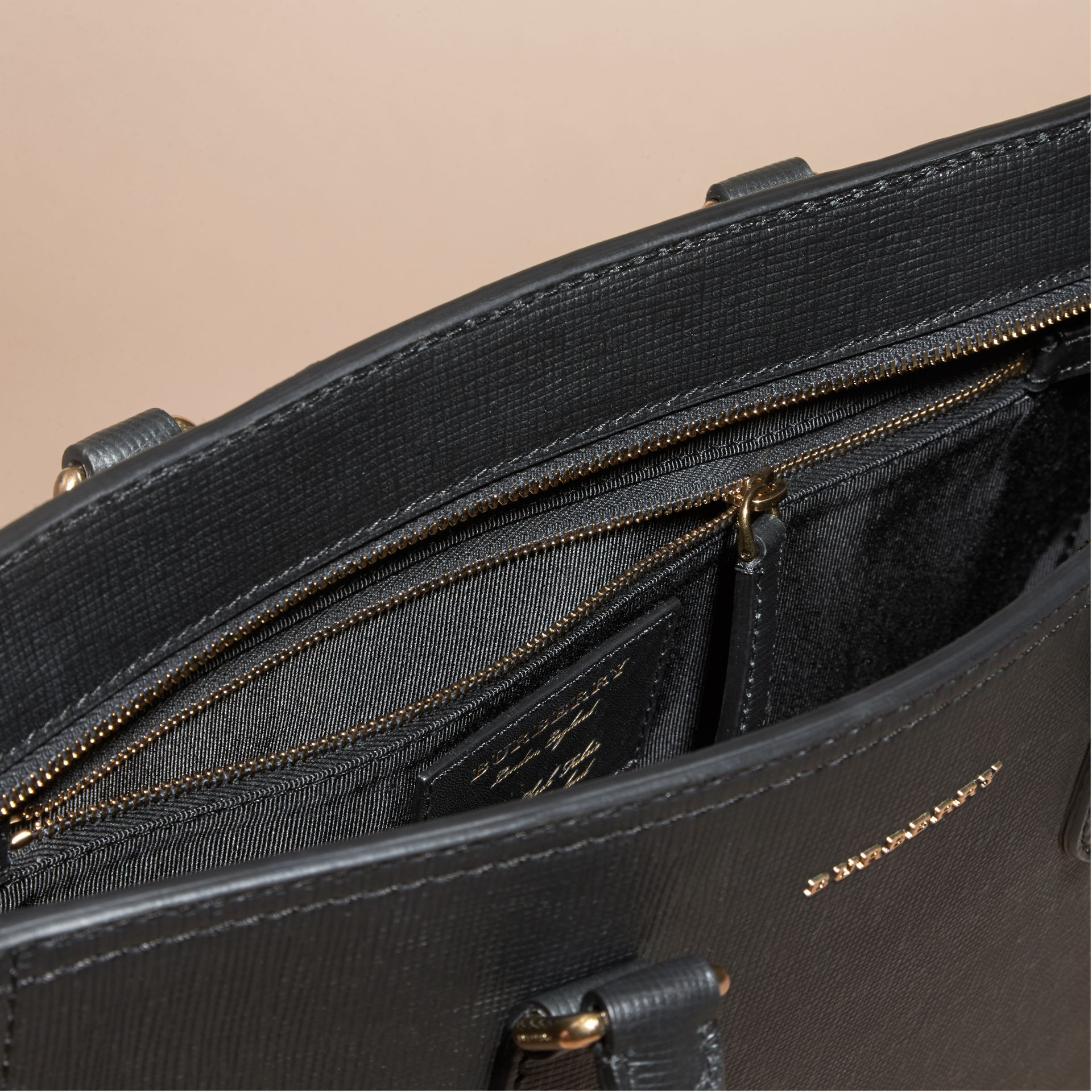 Black London Leather and House Check Tote Bag - gallery image 6