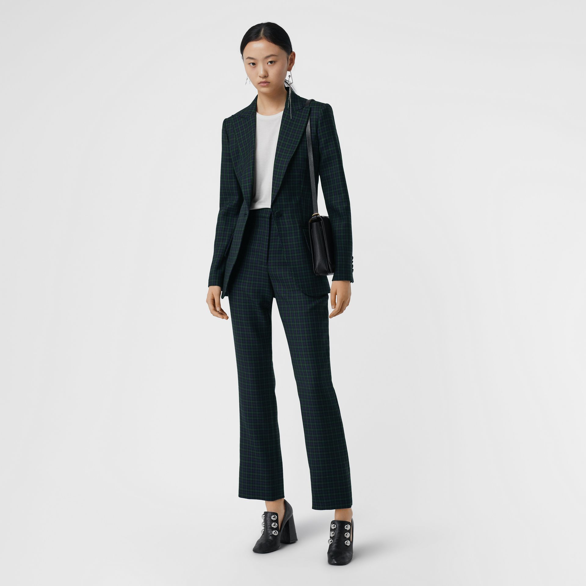 Check Stretch Wool Blazer in Navy - Women | Burberry United Kingdom - gallery image 0