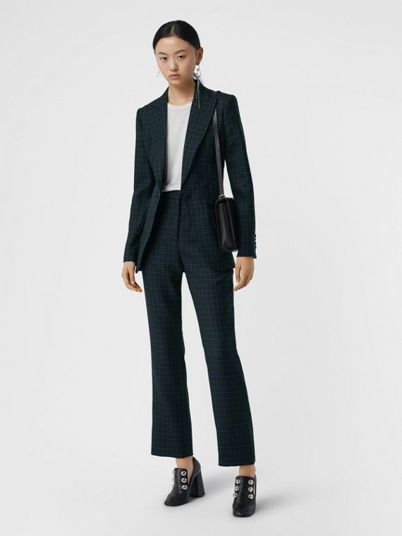 Check Stretch Wool Blazer in Navy