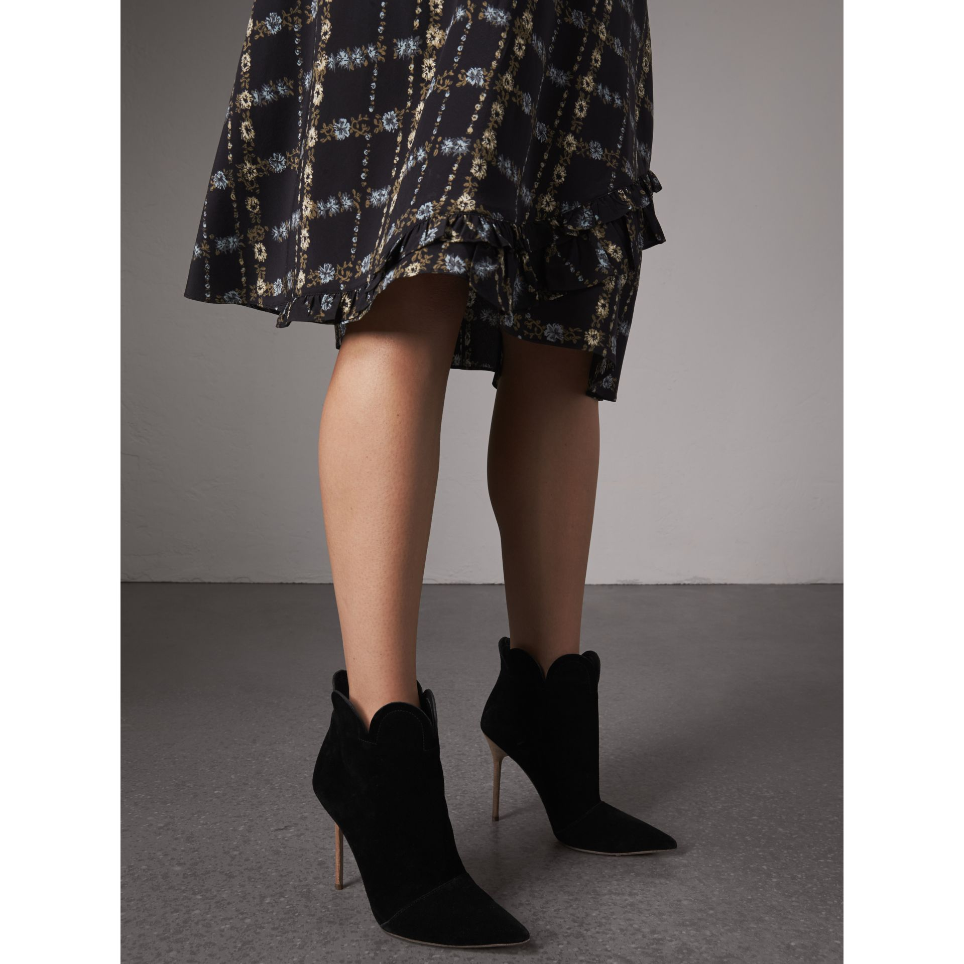 Scalloped Suede Ankle Boots in Black | Burberry United States - gallery image 2
