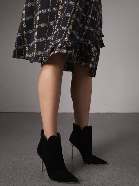 Scalloped Suede Ankle Boots in Black - Women | Burberry United States - cell image 2