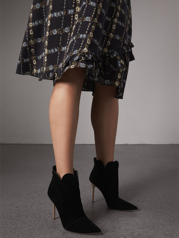 Scalloped Suede Ankle Boots in Black | Burberry United States - cell image 2