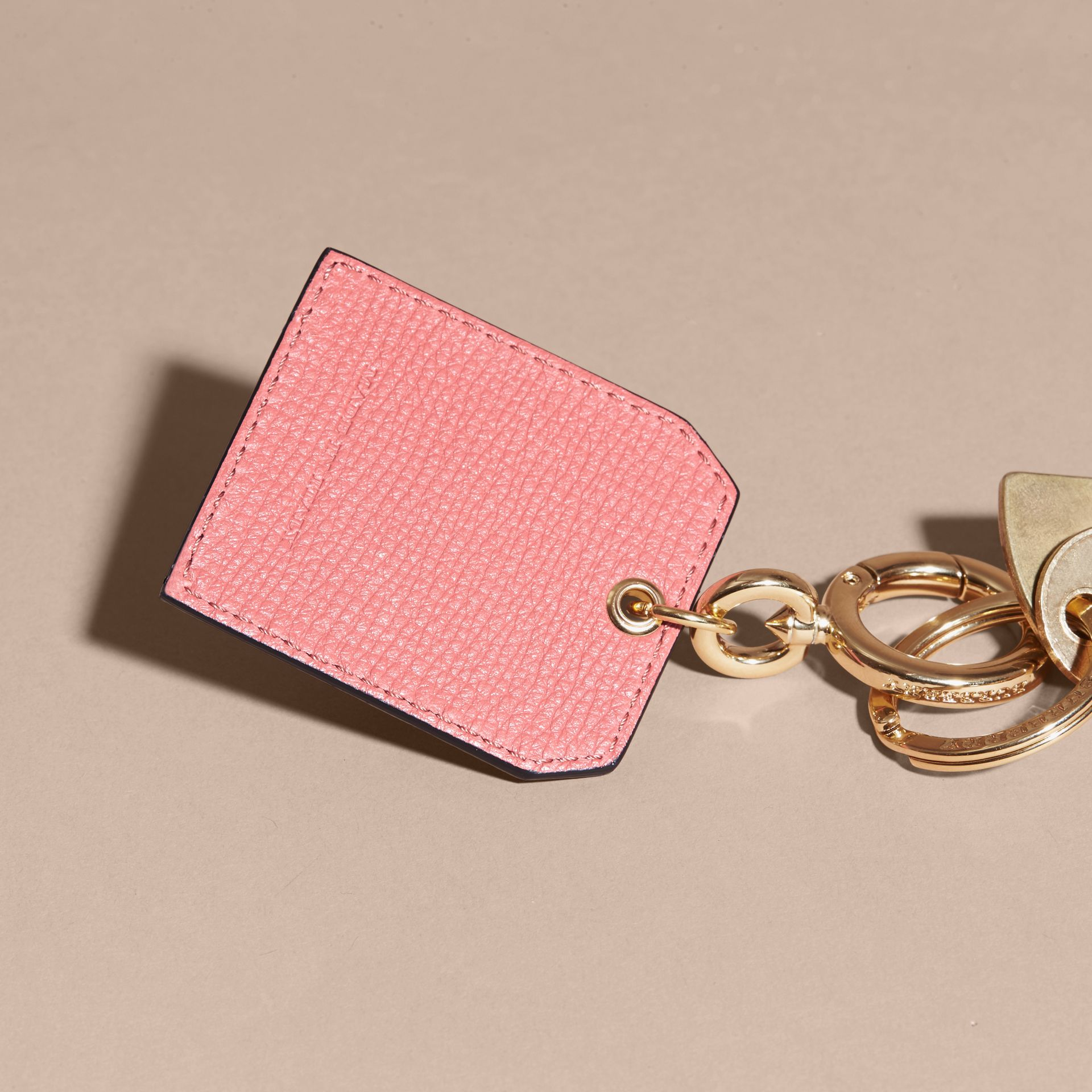 Grainy Leather Key Charm in Copper Pink - Women | Burberry - gallery image 4
