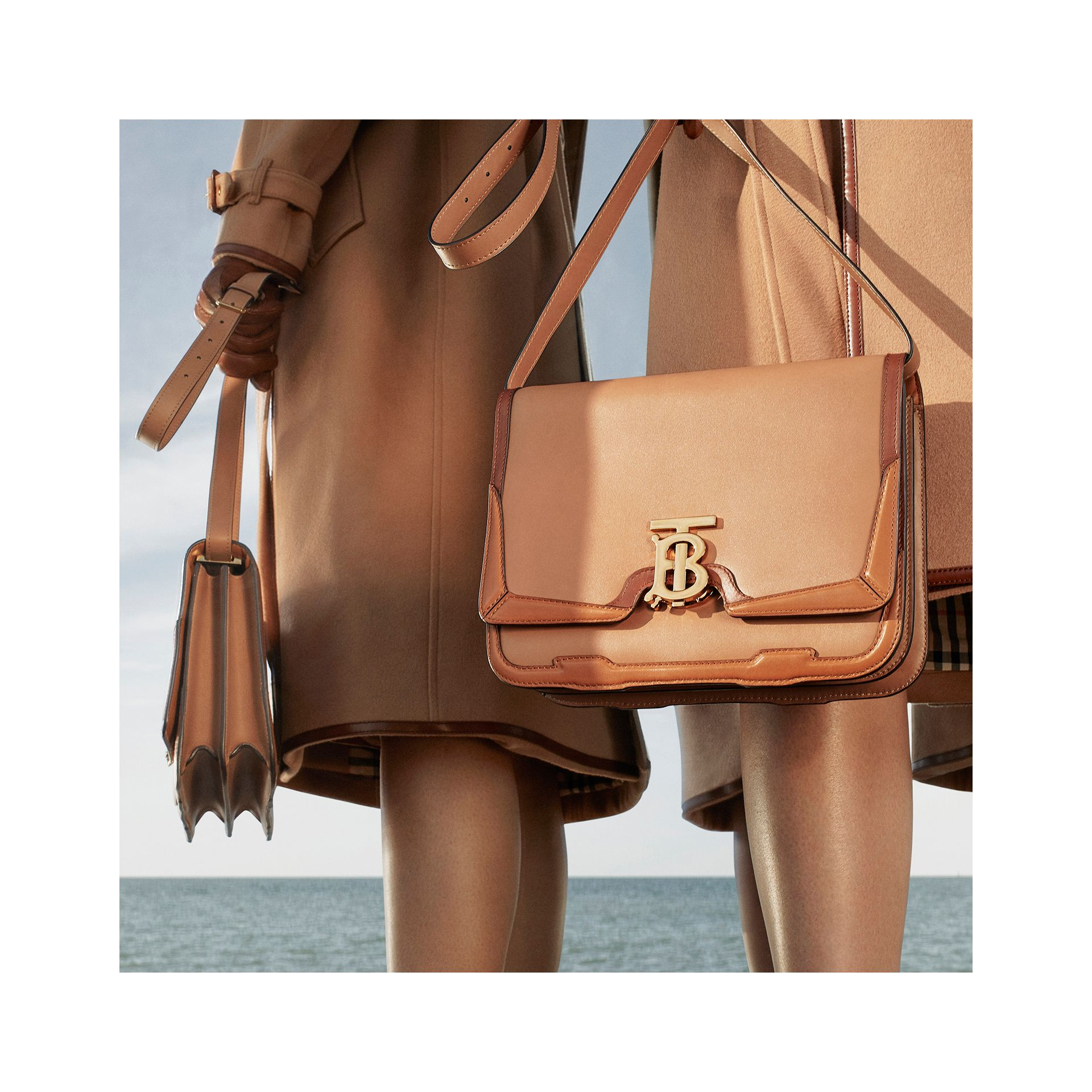 Medium Appliqué Leather TB Bag in Warm Camel - Women | Burberry - gallery image 6