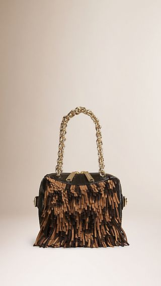 The Mini Alchester in Animal Print Suede Fringe