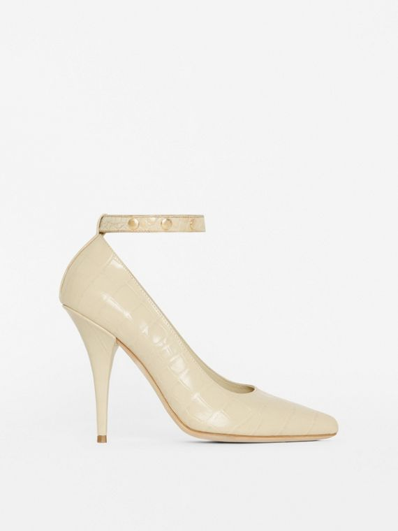 Triple Stud Embossed Leather Point-toe Pumps in Teddy Beige
