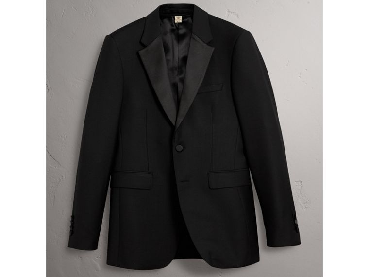 Modern Fit Wool Mohair Half-canvas Tuxedo in Black - Men | Burberry Australia - cell image 4