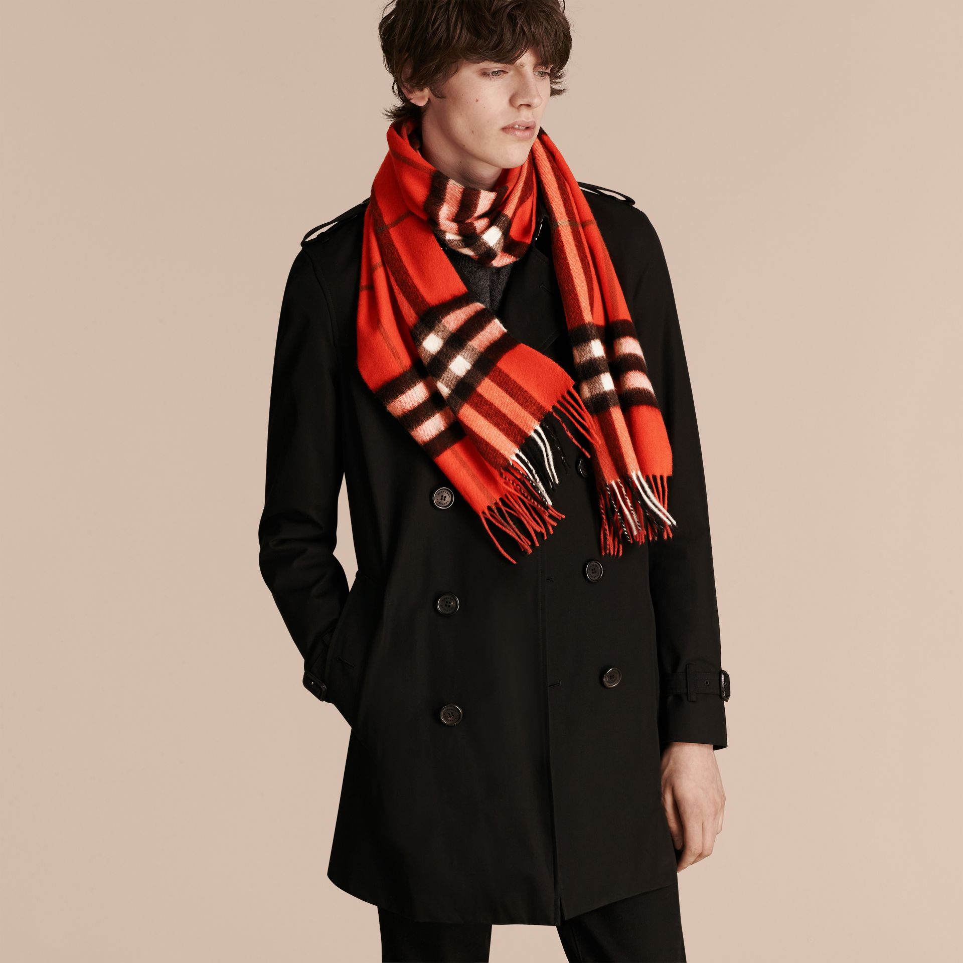 The Classic Check Cashmere Scarf in Bright Orange Red | Burberry - gallery image 4