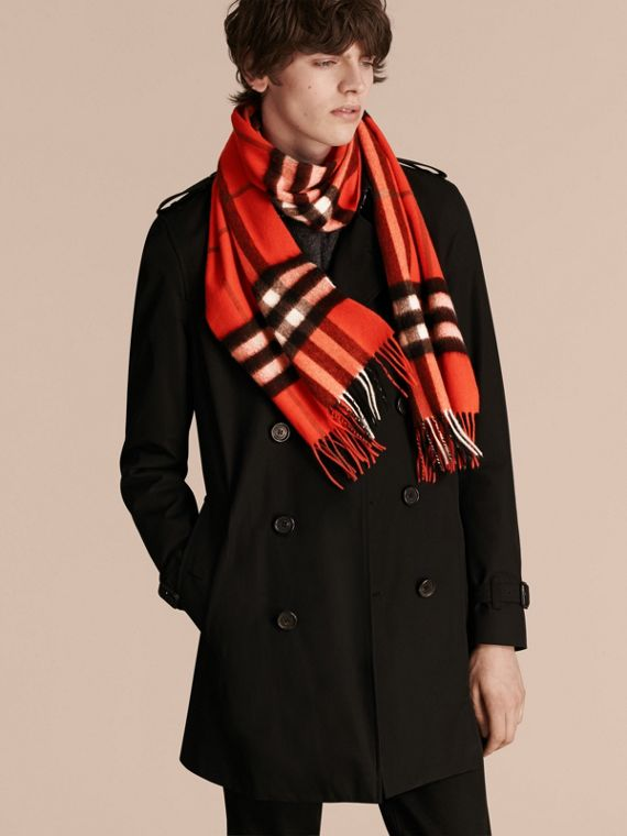The Classic Check Cashmere Scarf in Bright Orange Red | Burberry - cell image 3