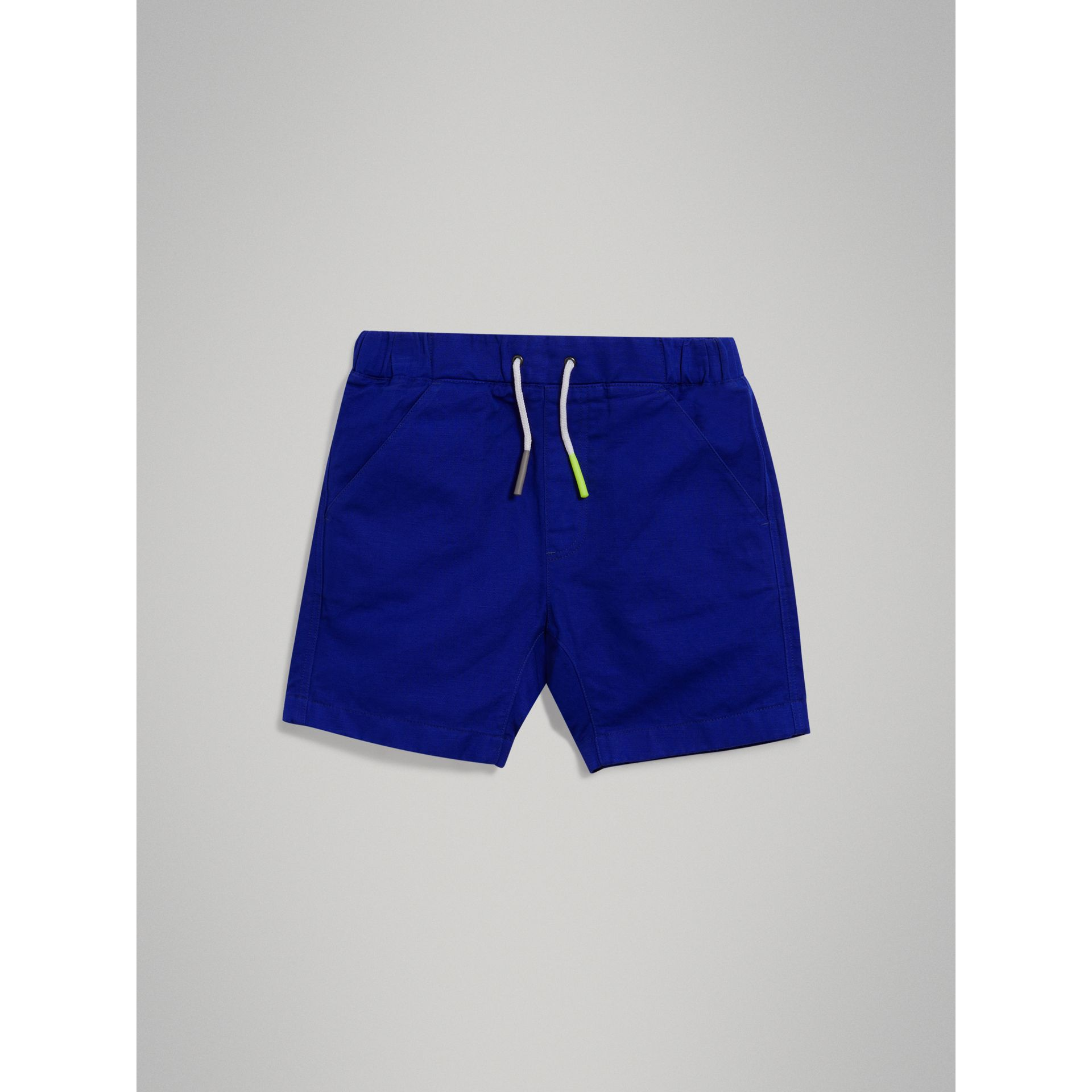 Drawcord Cotton Linen Twill Shorts in Brilliant Blue - Boy | Burberry - gallery image 2