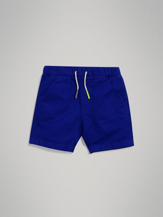 Drawcord Cotton Linen Twill Shorts in Brilliant Blue - Boy | Burberry - cell image 2
