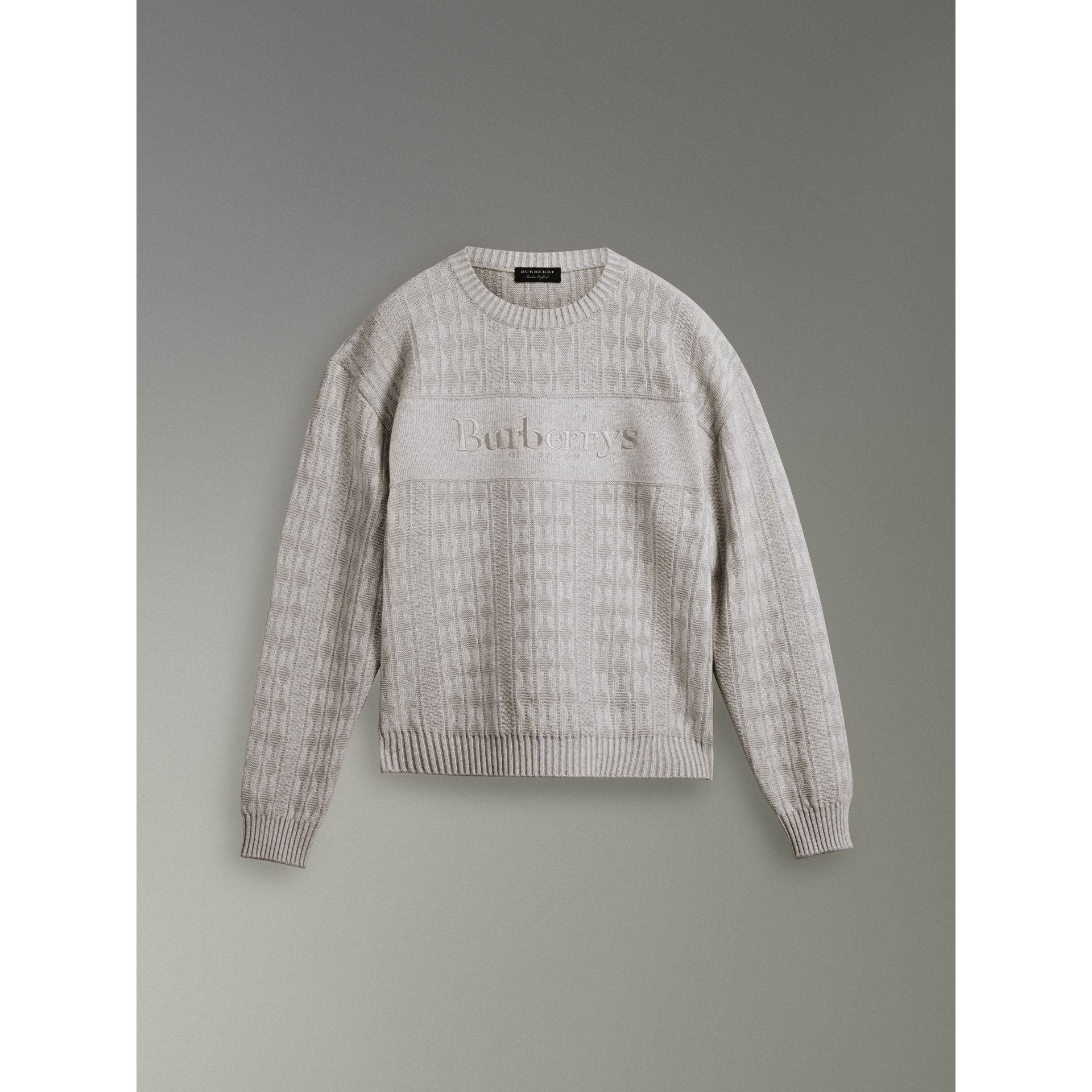 Reissued Lambswool Cotton Sweater in Light Grey Melange - Men | Burberry Singapore - gallery image 3