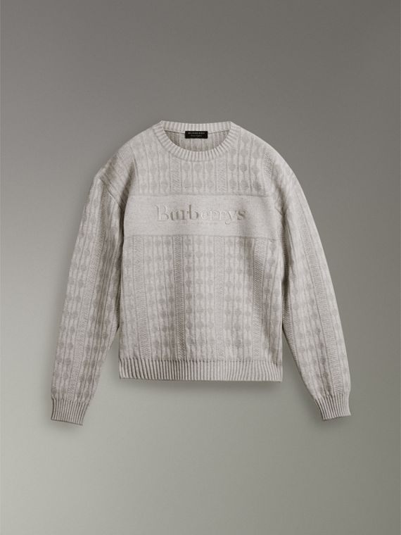 Reissued Lambswool Cotton Sweater in Light Grey Melange - Men | Burberry - cell image 3
