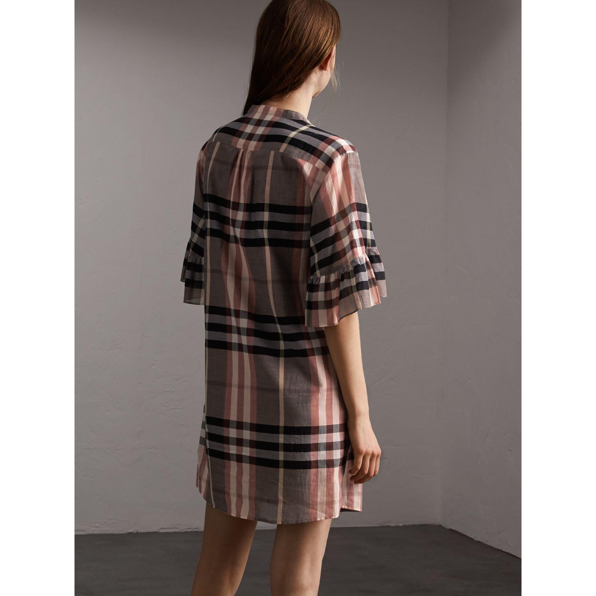 Ruffled Placket Check Cotton Dress in Dusty Pink - Women | Burberry - gallery image 3