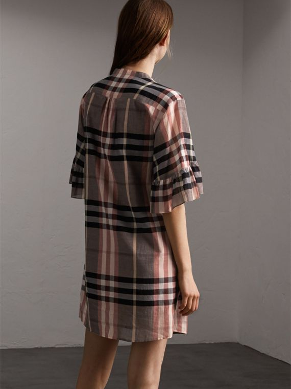 Ruffled Placket Check Cotton Dress in Dusty Pink - Women | Burberry - cell image 2