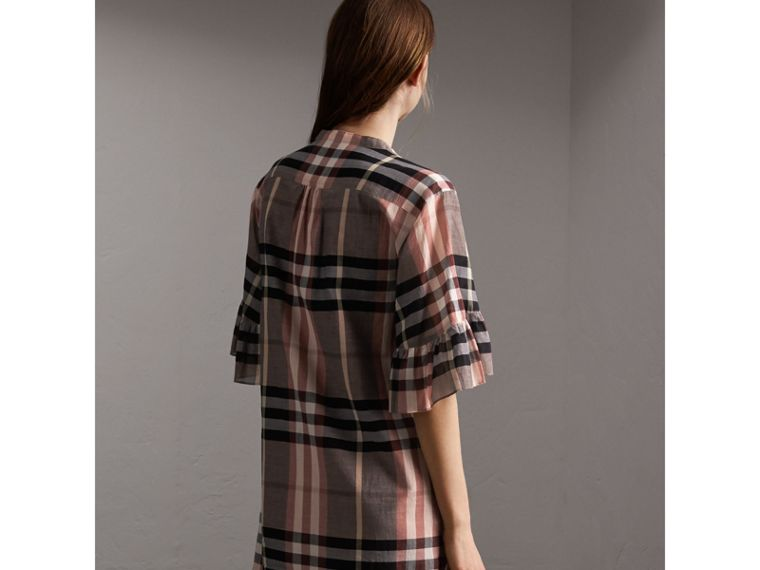 Ruffled Placket Check Cotton Dress - cell image 1
