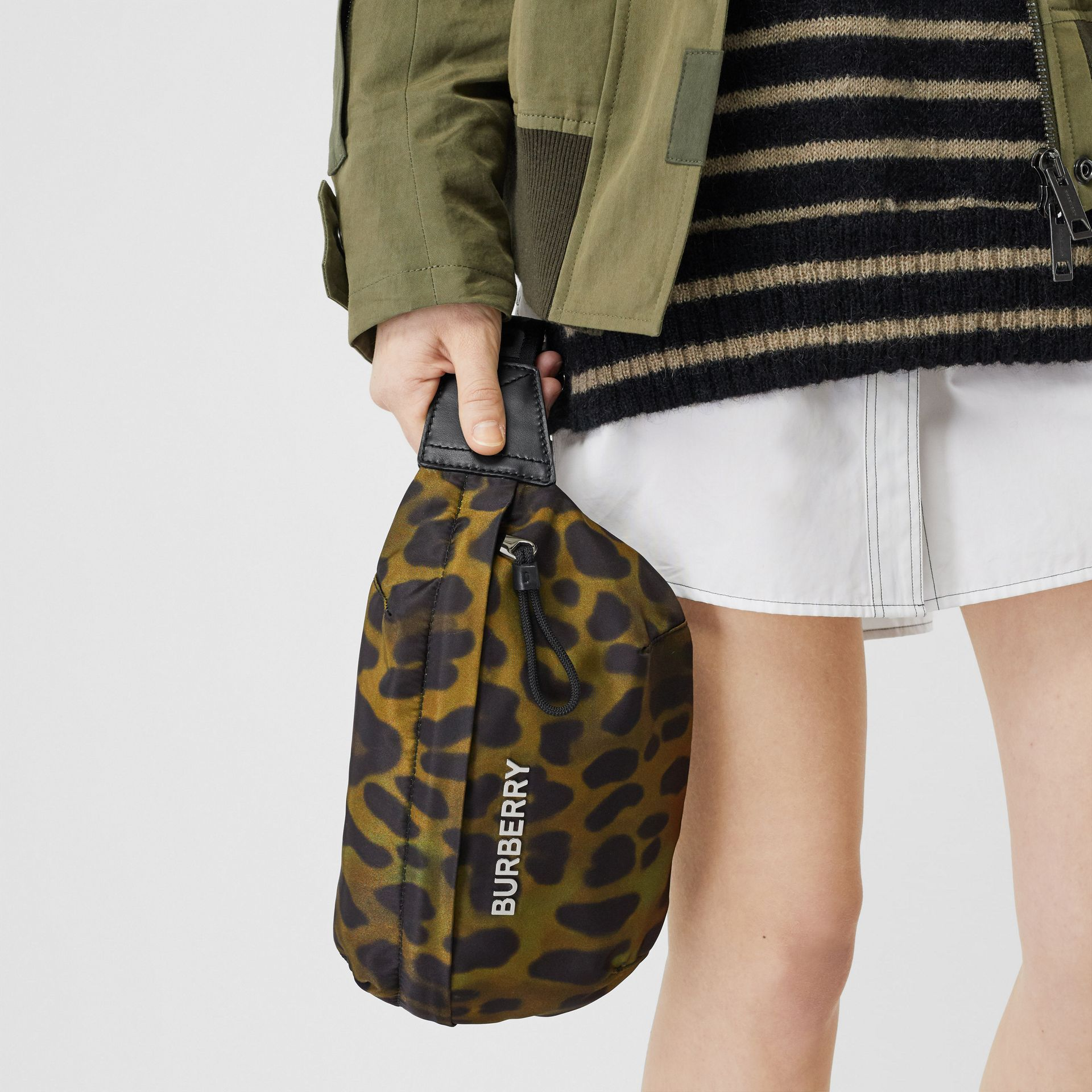 Medium Animal Print Bum Bag in Khaki Green - Men | Burberry - gallery image 2