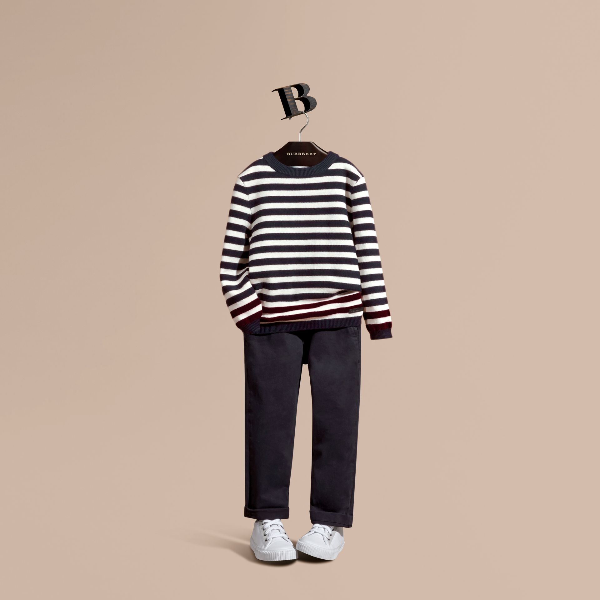 Navy Striped Cashmere Cotton Sweater - gallery image 1