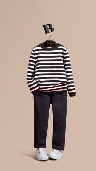 Striped Cashmere Cotton Sweater