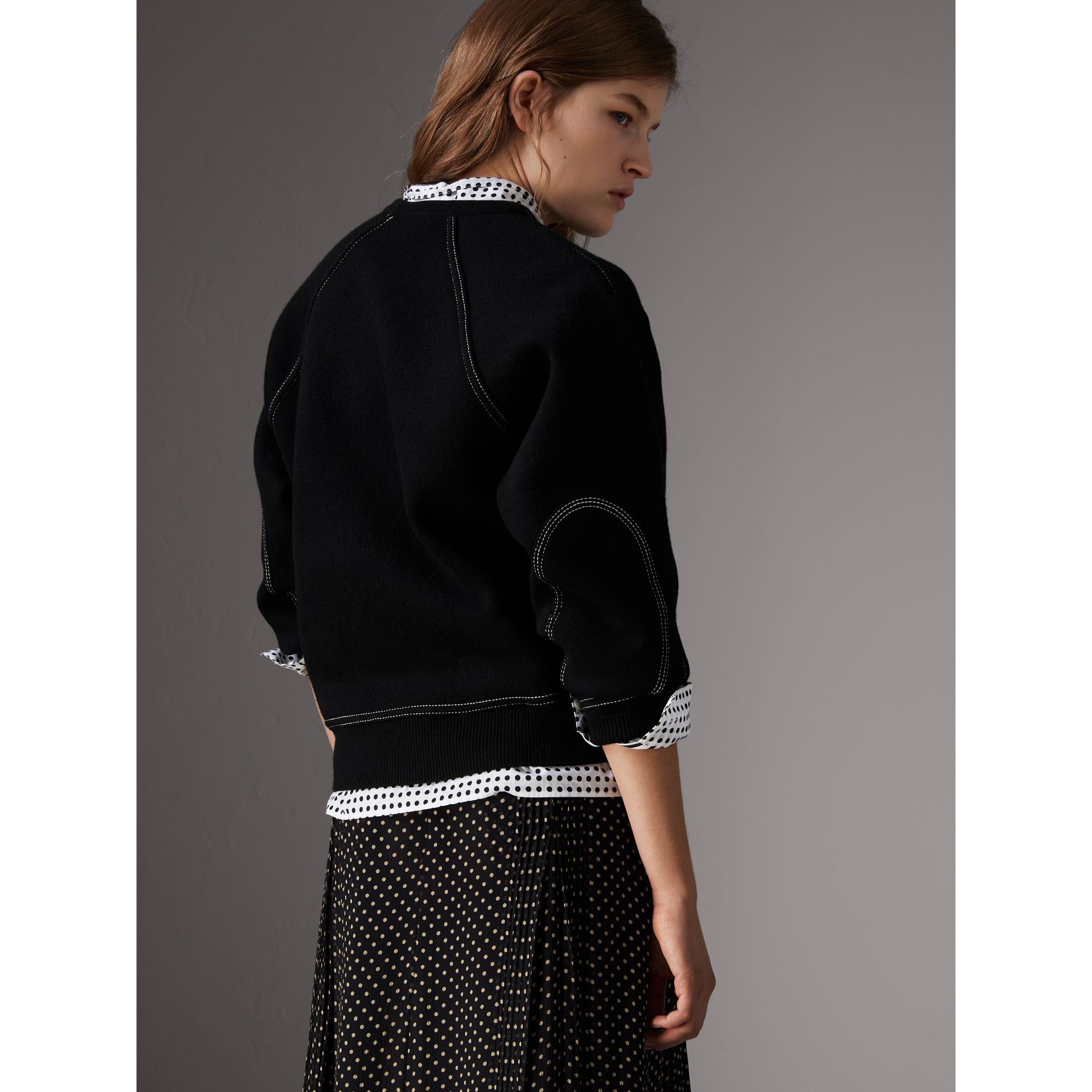 Topstitch Detail Wool Cashmere Blend Sweater in Black - Women | Burberry - gallery image 3