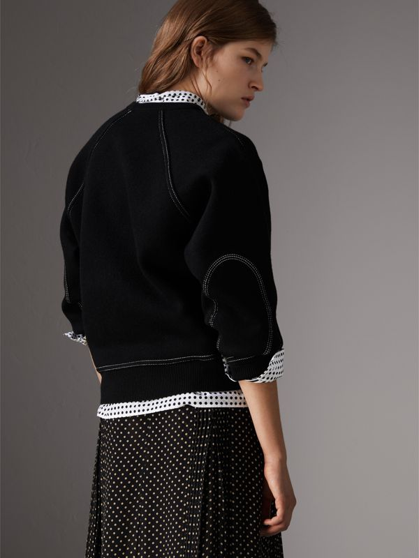 Topstitch Detail Wool Cashmere Blend Sweater in Black - Women | Burberry - cell image 2