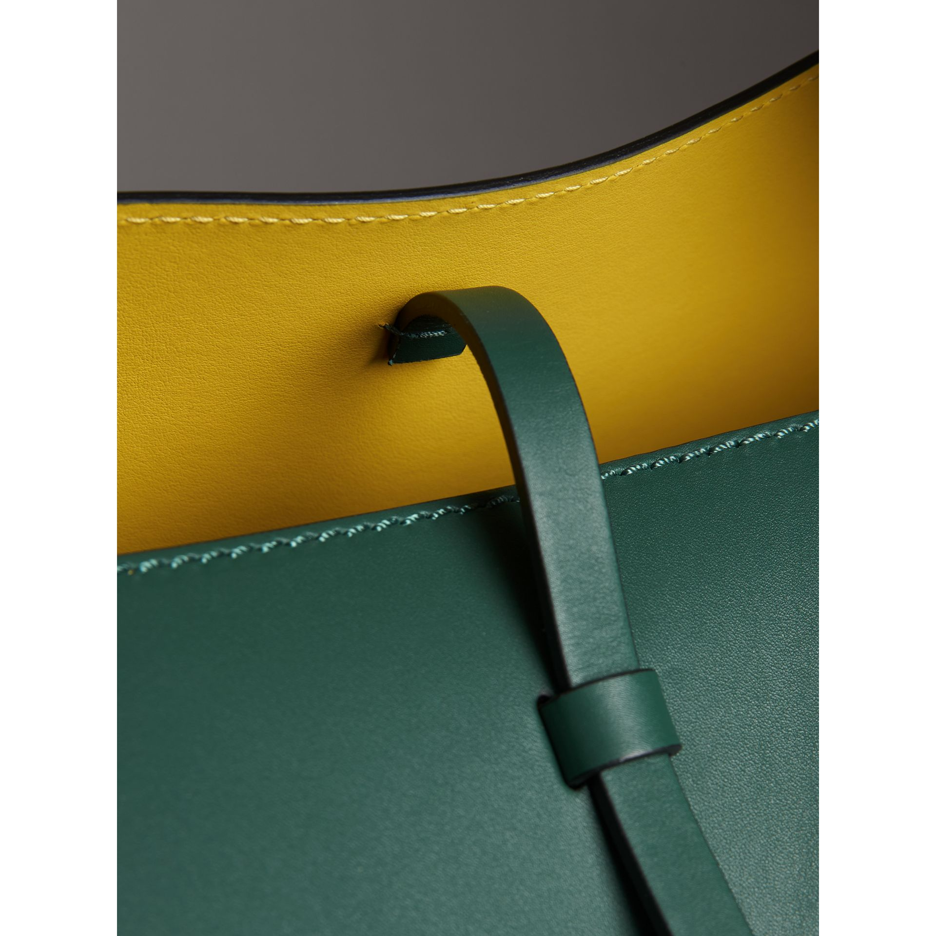 The Large Leather Bucket Bag in Viridian Green - Women | Burberry - gallery image 1