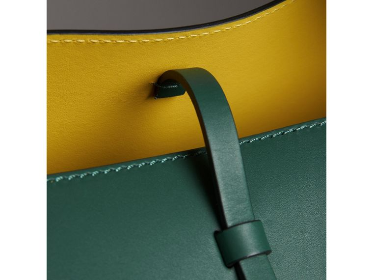 The Large Leather Bucket Bag in Viridian Green - Women | Burberry - cell image 1
